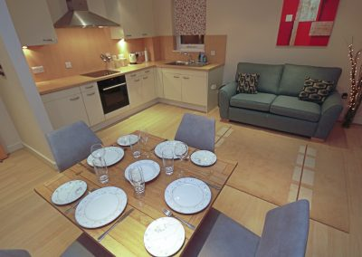 Dining table, Kitchen and Lounge